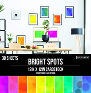 """Colorbok 78lb Single-Sided Printed Cardstock 12""""X12"""" 30/Pkg Spray Paint 10 Designs/3 Each (Packaging may vary)"""
