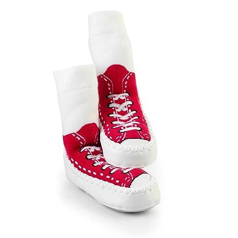 SOCK ONS Mocc Ons Sneakers Calcetines Andar por Casa (rojo) (18-24