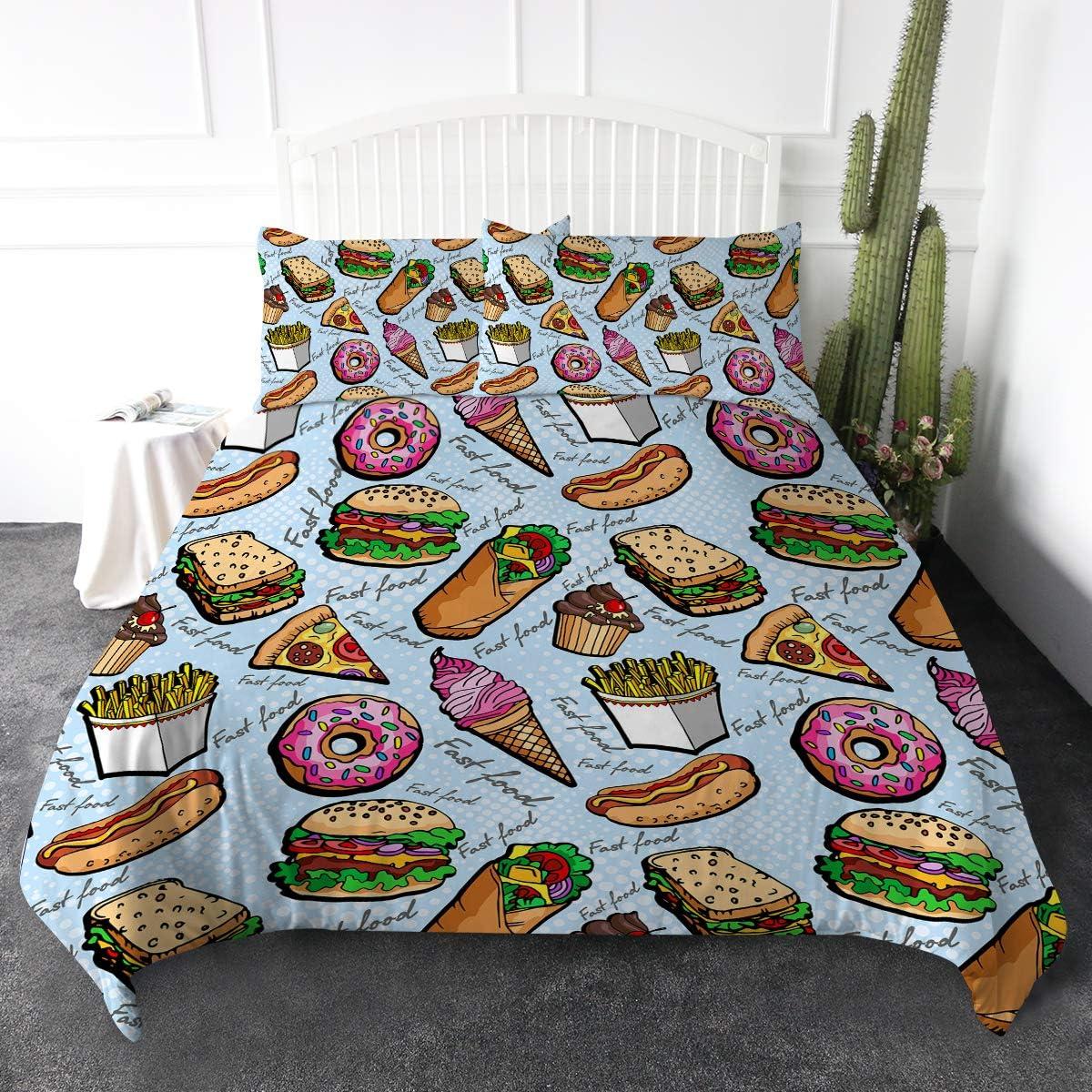 ARIGHTEX Fast Food Duvet Cover Set Pop Art Bedding Sets Hamburger Hot Dog Pizza Sandwich 3D Print Comforter Cover 3 Pieces Funny Creative Bedspread (Full)