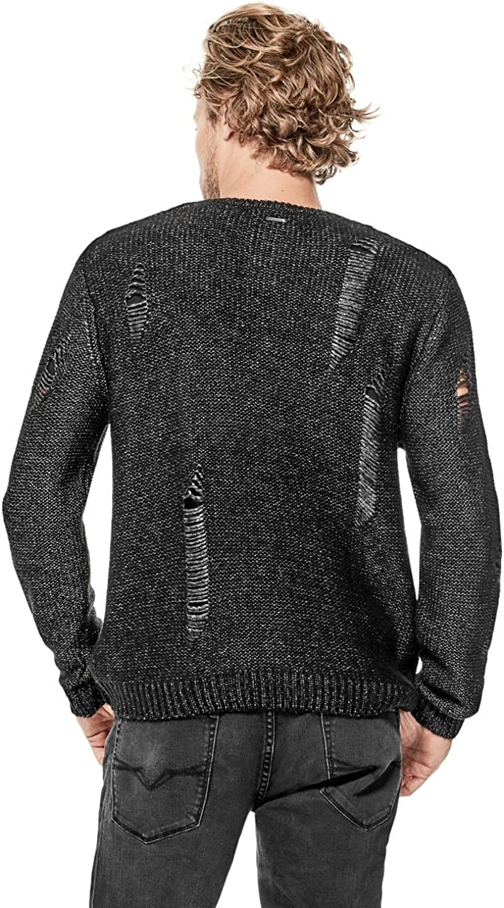 GUESS Mens Destroyed Knit Sweater