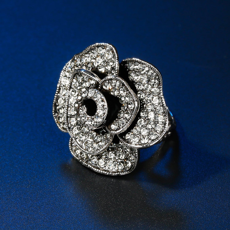 b16537a1eeed2 Amazon.com: Retro Black Rose Flower Ring Rhinestones Paved Floral ...