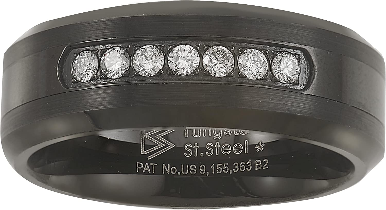 Black Tungsten Carbide Natural Diamond Mens Wedding Band (.20CTW H-I I2)