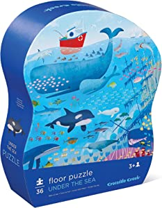 """Crocodile Creek - Under The SEA - 36 Piece Jigsaw Floor Puzzle with Heavy-Duty Box for Storage, Large 20"""" x 27"""" Completed Size, Designed for Kids Ages 3 Years and up"""