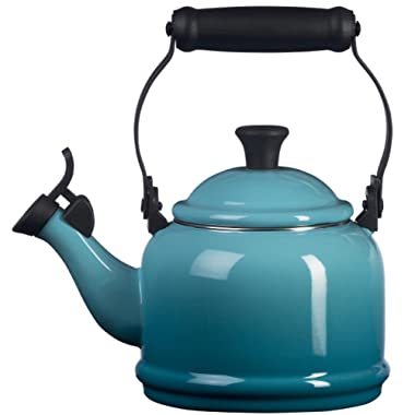 Le Creuset Q9401-17 Enamel-on-Steel Demi 1-1/4-Quart Teakettle, Caribbean, 1.25 Qt,