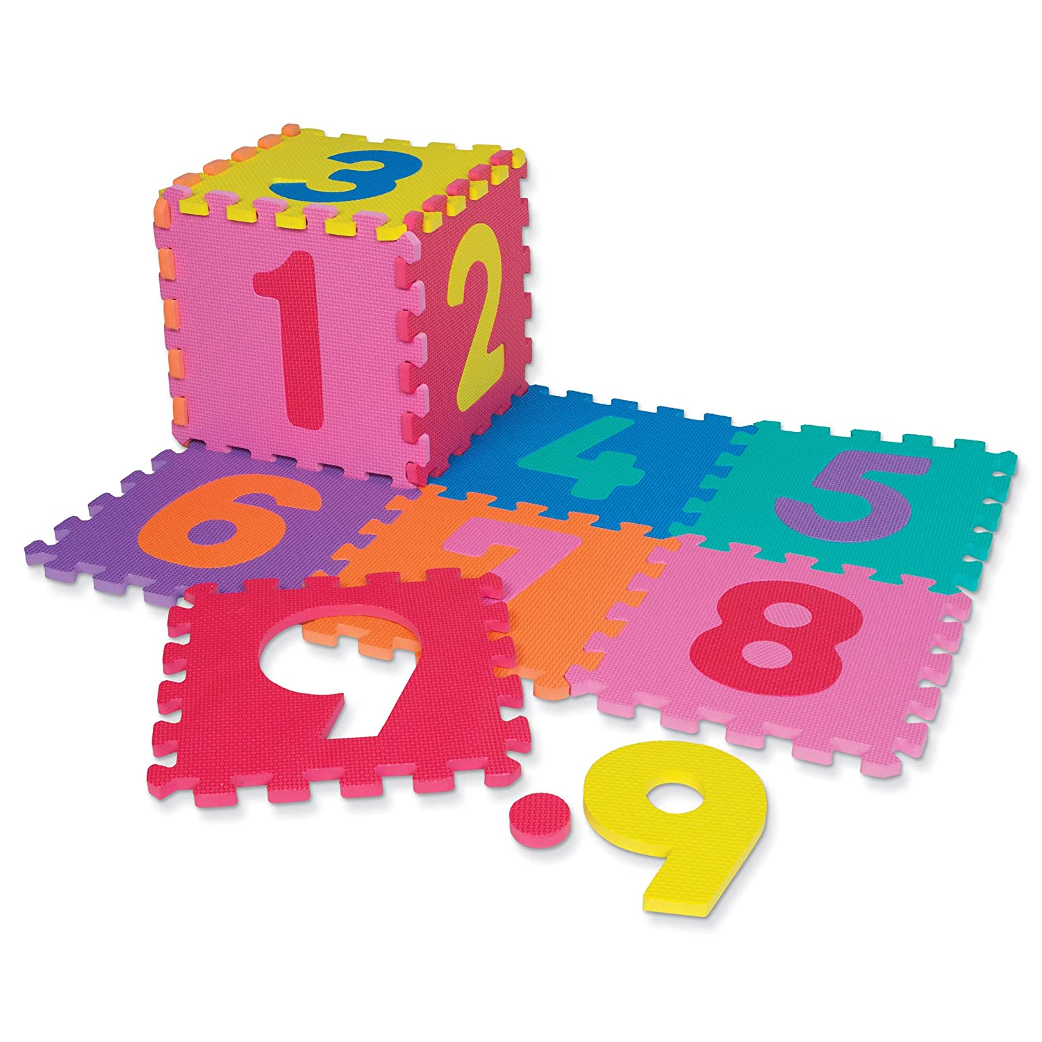 Chenille Kraft WonderFoam CK 4382 Numbers Puzzle Mat Assorted Colors 10 x 10 20 Pieces 10 Squares