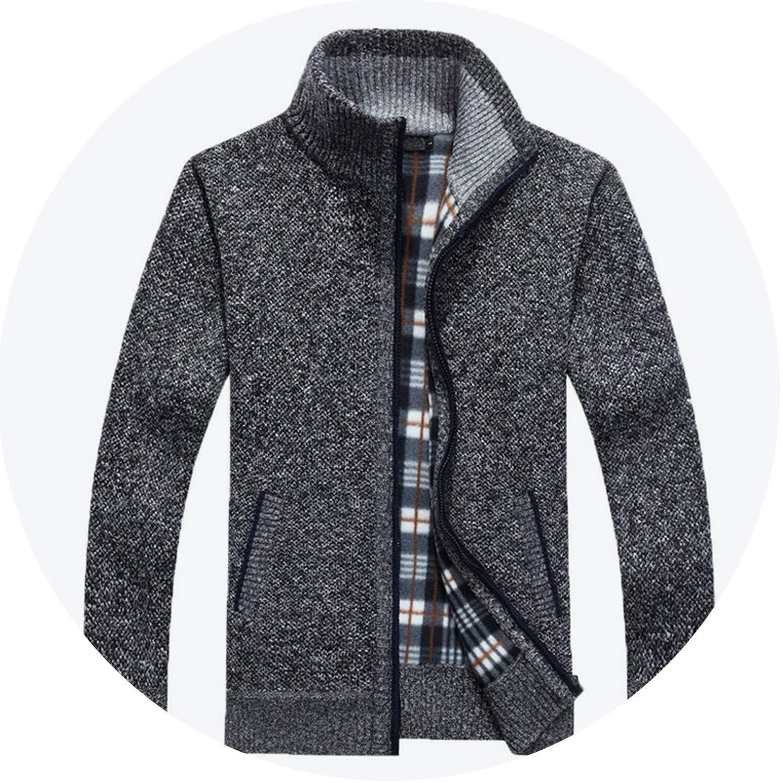 2018 Winter Men Warm Cardigan Sweater Casual Loose Stand Neck Wool Sweaters Zipper Thick Knitwear
