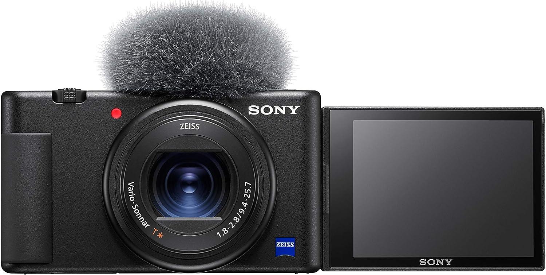 Sony ZV1BDI.EU - Cámara vlogging (Eye AF con Seguimiento a Tiempo Real, detección de Fases, prioridad a rostros en Auto Exposición, para Vlogger, Video 4K, Filtro Piel Suave, Micro direccional) Negro