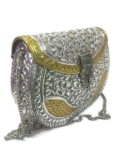 Bolsos de metal Embragues de parte Mano talla Vintage latón monedero antigüedades étnicas mujeres hechas a