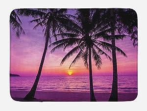 "Ambesonne Ocean Bath Mat, Palm Trees Silhouette at Sunset Dreamy Dusk Warm Exotic Twilight Scenery Image, Plush Bathroom Decor Mat with Non Slip Backing, 29.5"" X 17.5"", Purple Black"