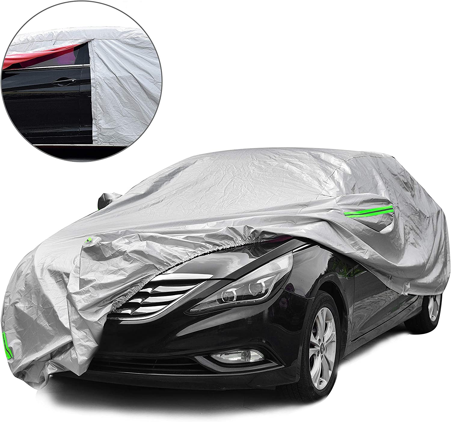 Tecoom LSC04 Waterproof UV-Proof Windproof Design Car Cover with Zipper Storage and Lock for All Weather Indoor Outdoor Fit 201-218 inches Sedan