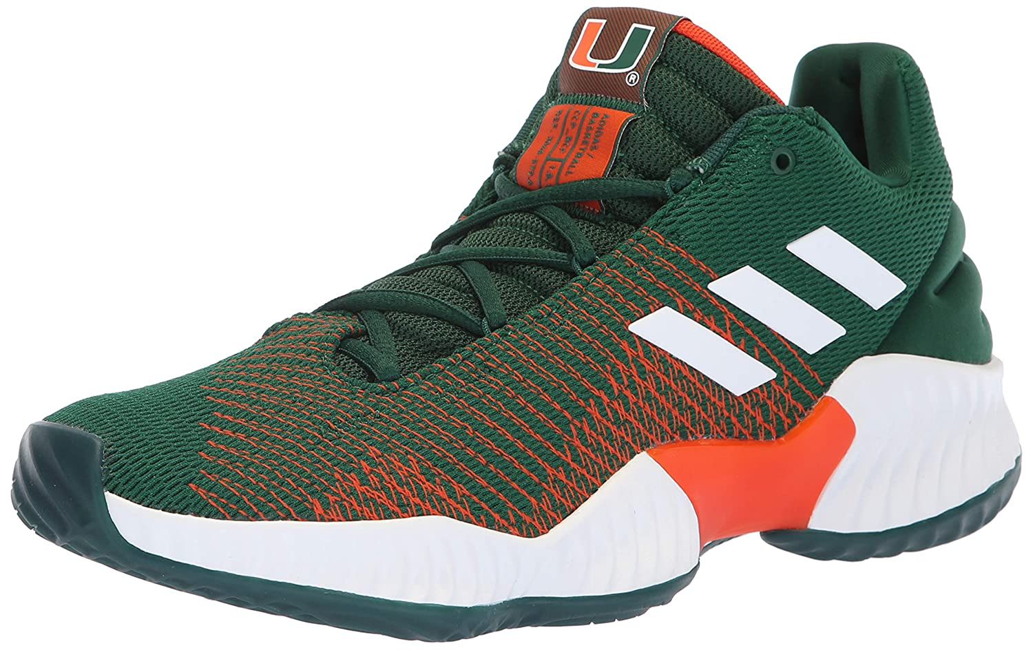 Dark Green White orange Adidas Mens Pro Bounce 2018 Low Basketball shoes