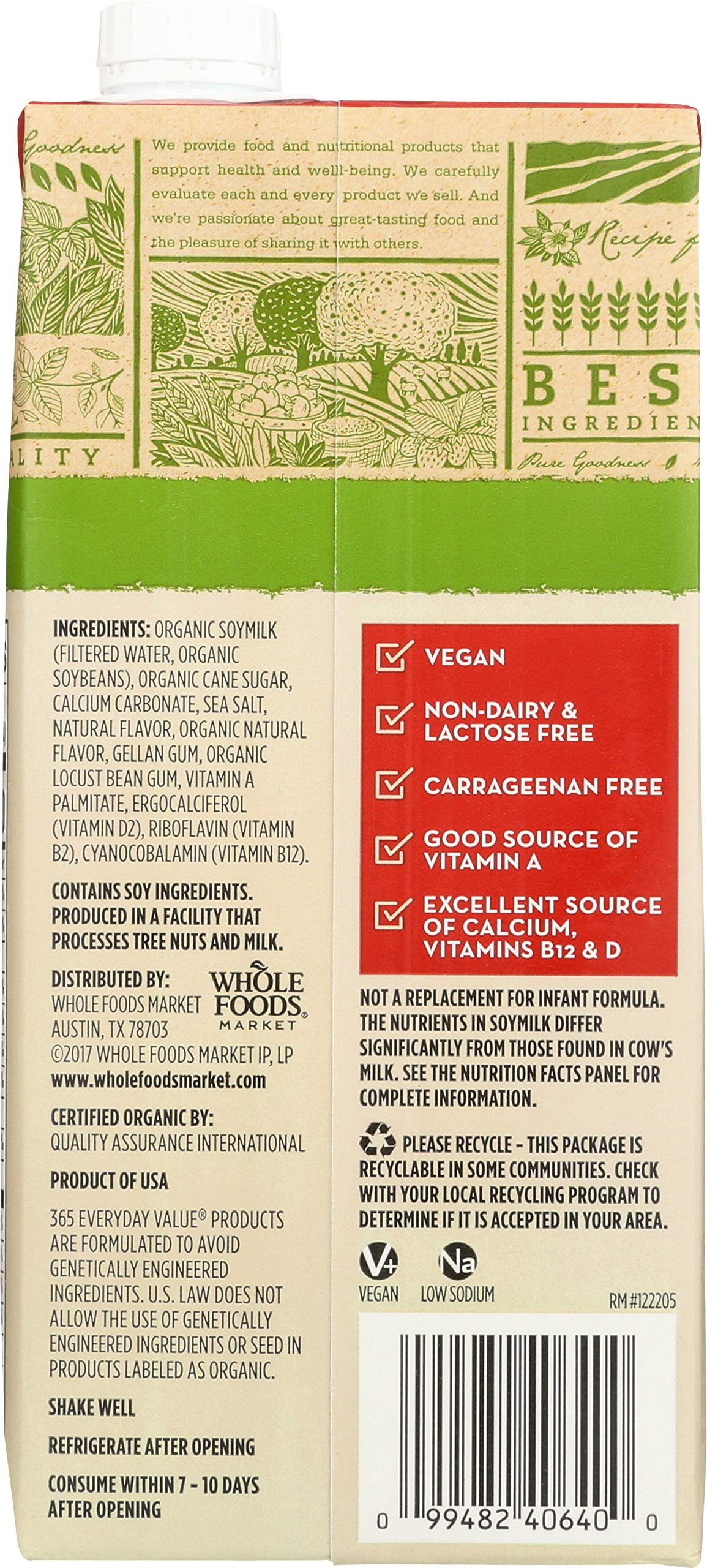 365 by Whole Foods Market, Organic Shelf-Stable Soymilk, Orginal, 32 Fl Oz