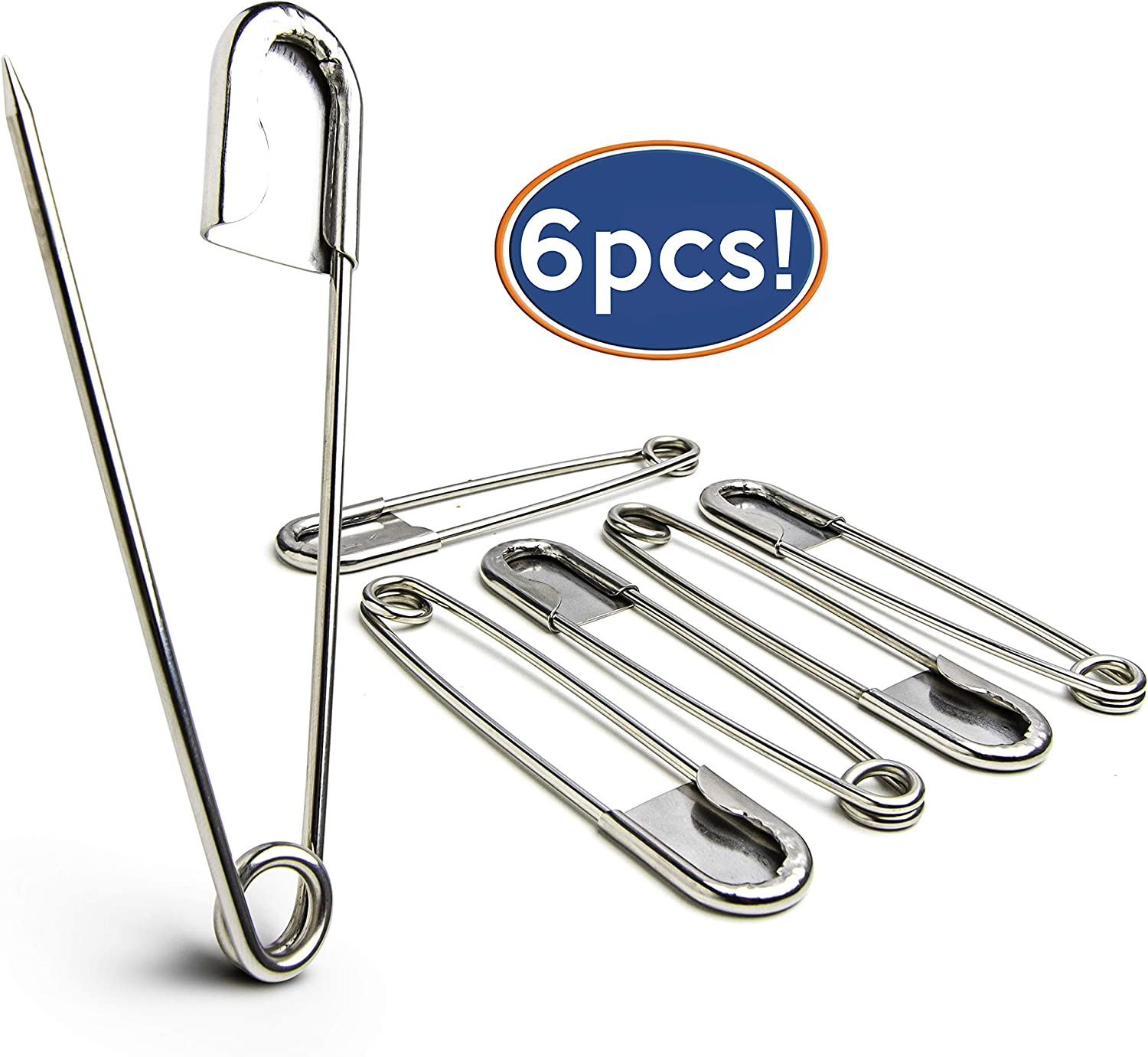 Bastex 6 Pack of 5 Inch Safety Pins. Extra Large Heavy Duty Stainless Steel Pin for Laundry, Upholstery, Horse Blanket, Quilting, Decorative Fashion and More. Bulk Giant Jumbo Strong Pins