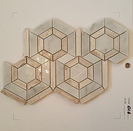 Mosaico Azulejos 35 x 25 cm mármol blanco gris y beige llamativa de ...