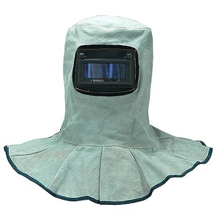 Cuero Campana de soldadura casco con oscuridad automática Lente de filtro Seguridad de soldadura Careta