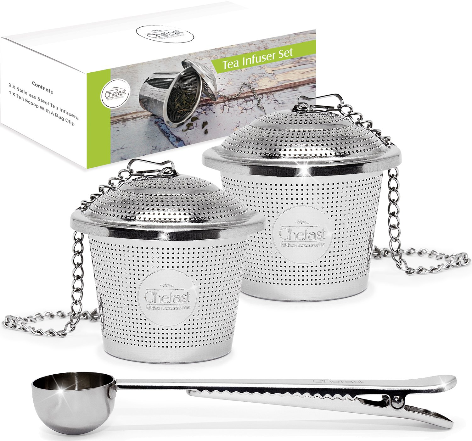 Tea Infuser Set by Chefast (Large Size) - Combo Kit of 2 Multi Cup Infusers & Metal Scoop with Bag Clip - Reusable Stainless Steel Strainers and Steepers for Loose Leaf Teas