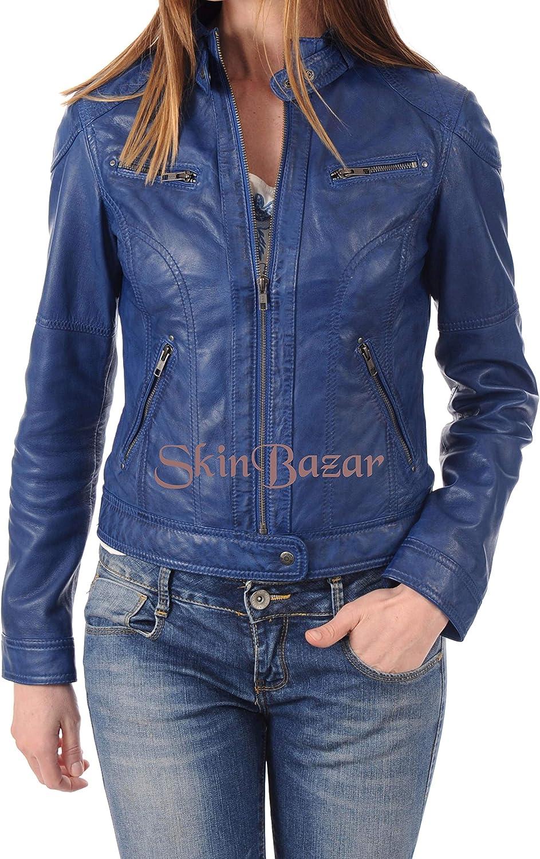 Womens Leather Jackets Stylish Motorcycle Bomber Biker Real Lambskin Leather Jacket for Women 225