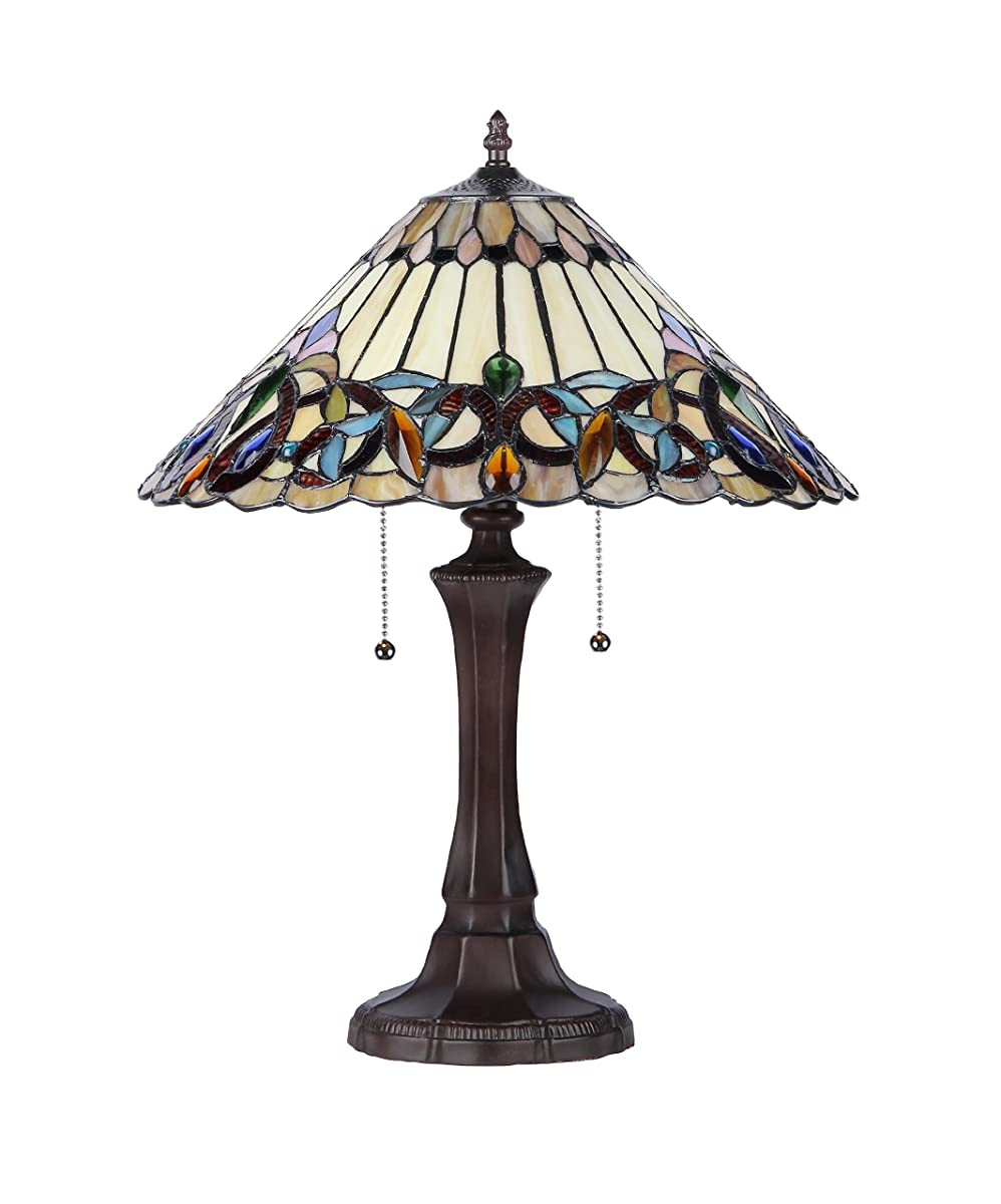 "Chloe Lighting CH33318VI16-TL2 Ambrose Tiffany-Style Victorian 2-Light Table Lamp, 21.9 x 16.54 x 16.54"", Multicolor"