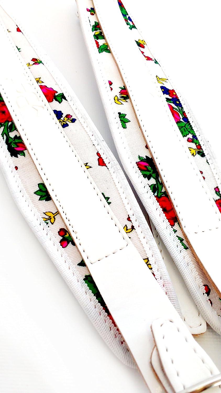 Paire de bretelles courroies en cuir pour accordéon 80-120 Blanc, fleurs Belti