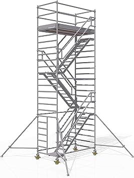 ALTEC - Torre para escaleras (2,5 m x 1,3 m) fabricada en Alemania, certificado TÜV, de aluminio, contra escaleras, escaleras de fuego, escaleras de andamio: Amazon.es: Bricolaje y herramientas