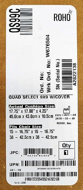 Roho QS99C Quadtro Select - Cojín de Alto Perfil (40,6 x 40 ...