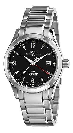 ball engineer. ball engineer ii ohio gmt watch, rr1201, black, steel bracelet, 40mm