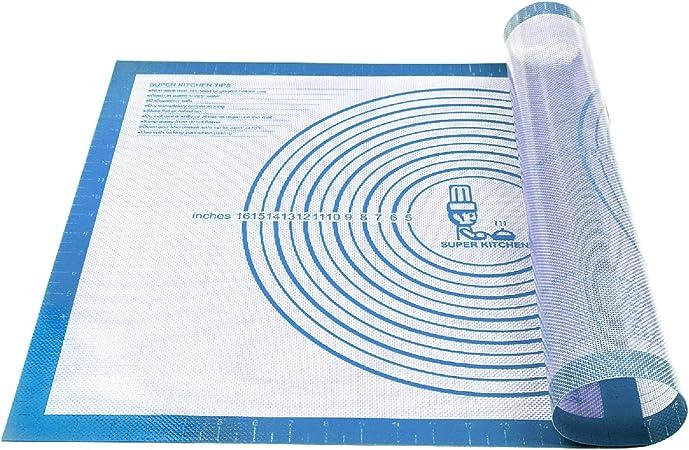 Dough Rolling Mat Pie Crust Mat Silicone Baking Mat Non Stick Ectra Thick Counter Mat with Measurement Baking Sheet Fondant Mat 16 W x 20 L