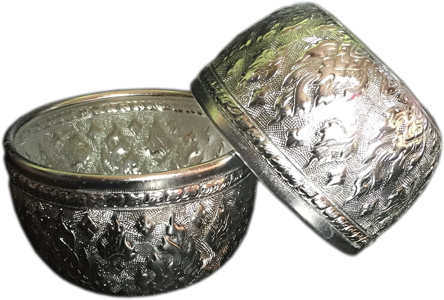 2x Aluminum water bowl Thai design silver bowl sterling bowls serving set 3