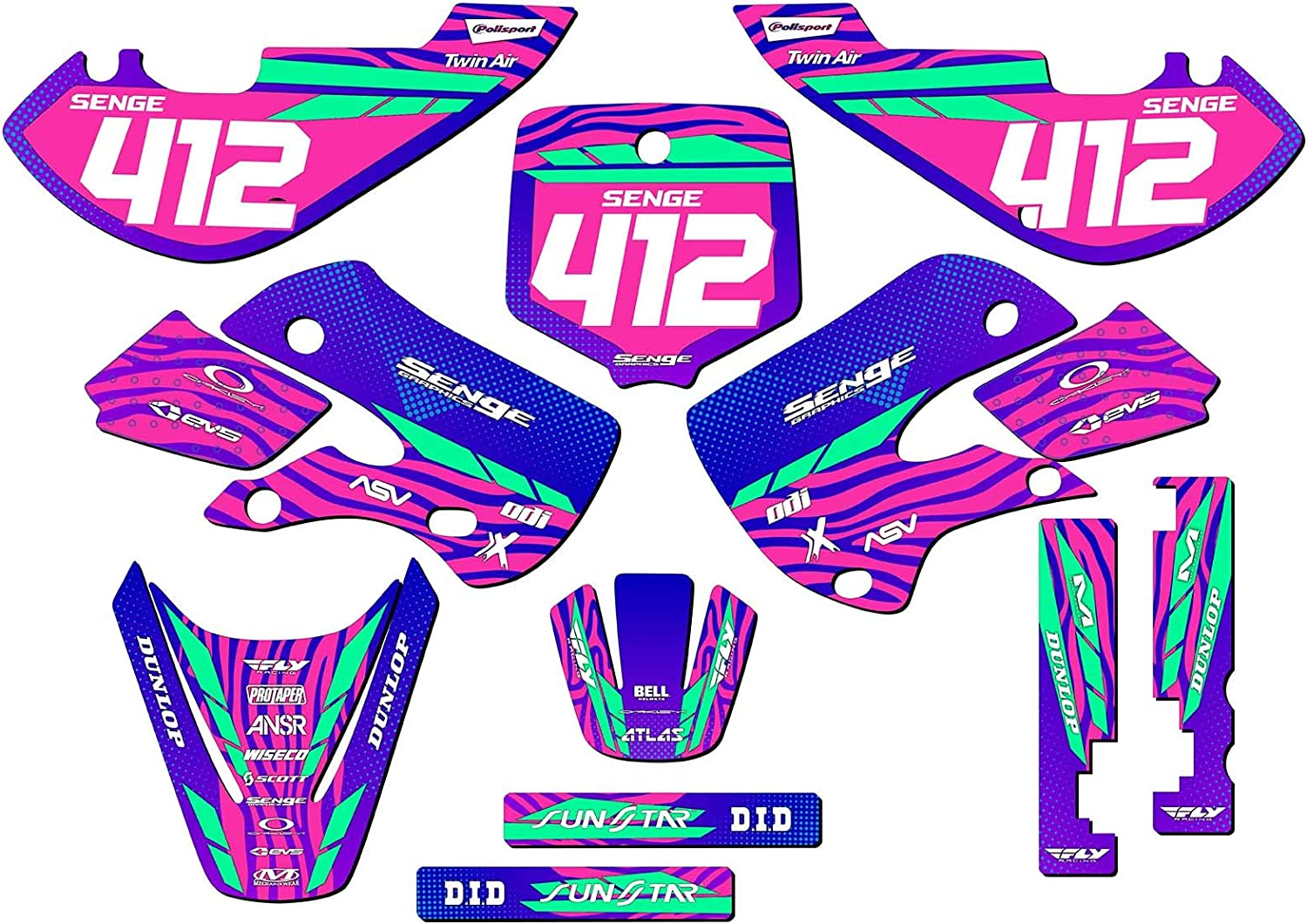 All Years 2001-2018 RM 65 Senge Graphics Fly Yellow Complete Graphics Kit Compatible with Suzuki