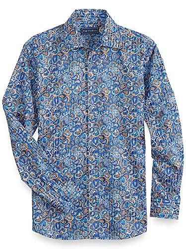 Vintage Shirts – Mens – Retro Shirts Paul Fredrick Mens Cotton Paisley Long Sleeve Casual Shirt $115.00 AT vintagedancer.com