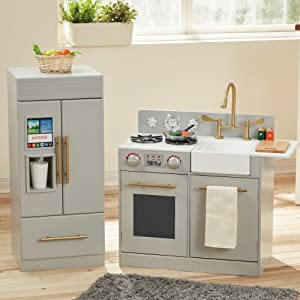 Teamson Kids - Modern Wooden Play Kitchen Set with Working Ice Maker and Removable Sink - Silver Grey