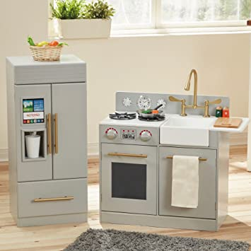 Teamson Kids - Chelsea Modern Wooden Kids Play Kitchen   Toddler Pretend  Play Set with Working Ice Maker and Removable Sink - Silver Grey