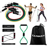 Canway Resistance Bands Set - 12Pcs Include 5 Exercise Bands, Booty Belt, Door Anchor, Handles, Legs Ankle Straps, Waterproof Carrying Case - For Resistance Training, Shaping Body, Home Workouts