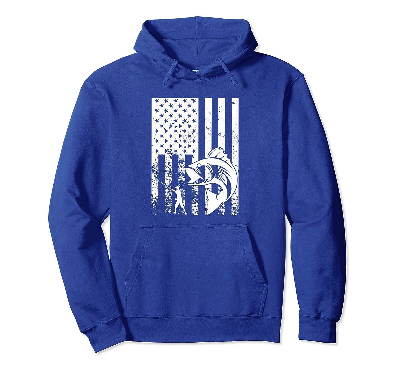 American Fishing Fisherman Patriotic Distressed Flag Hoodie-alottee gift