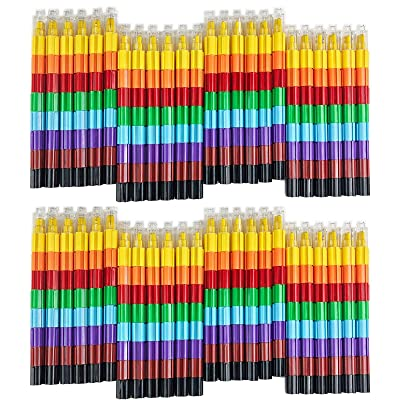 Huji Stacking Buildable 8 Colors Crayons Set, Connect Stack and Build Crayons Sideways and Up, Favorite Toys Kids Party Favors Safe Non-Toxic, Easy to Hold (Building-Blocks, 48): Office Products