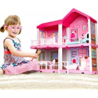 TEMI Dollhouse Dreamhouse with Dolls, DIY Cottage Pretend Play Doll House with Accessories Including Furniture and…