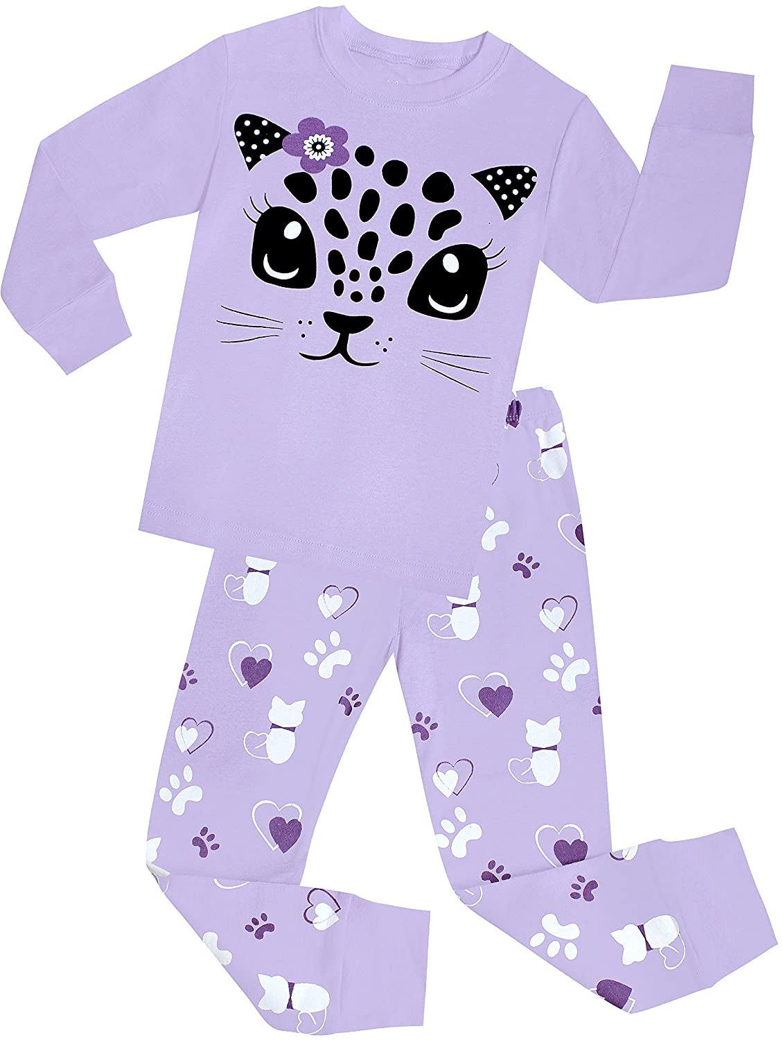 shelry Little Girls Cat Pajamas Set Children Cotton Clothes Christmas PJS