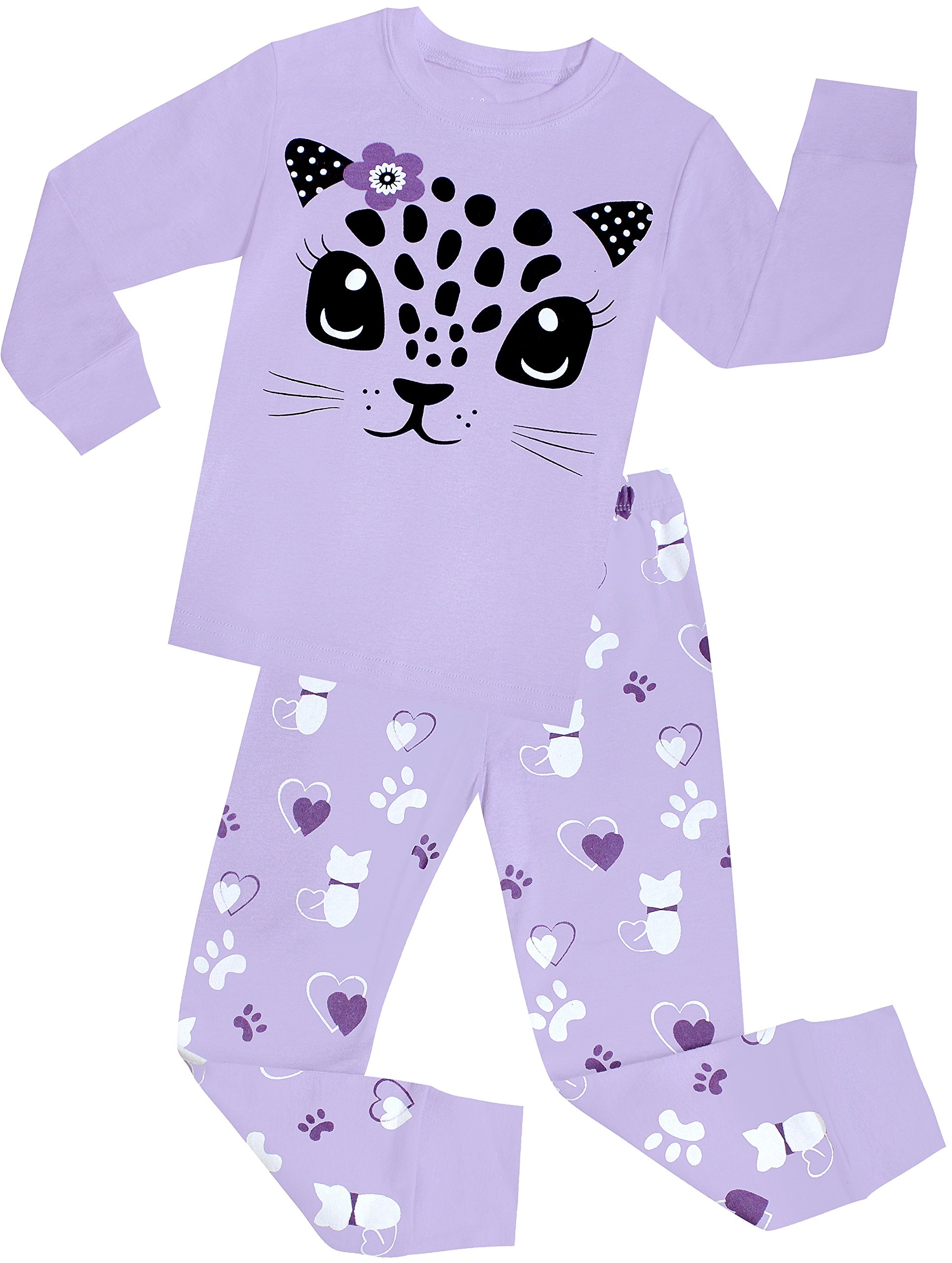 Little Girls Cat Pajamas Set Children Cotton Clothes Christmas Gift Pjs Size 3 Years
