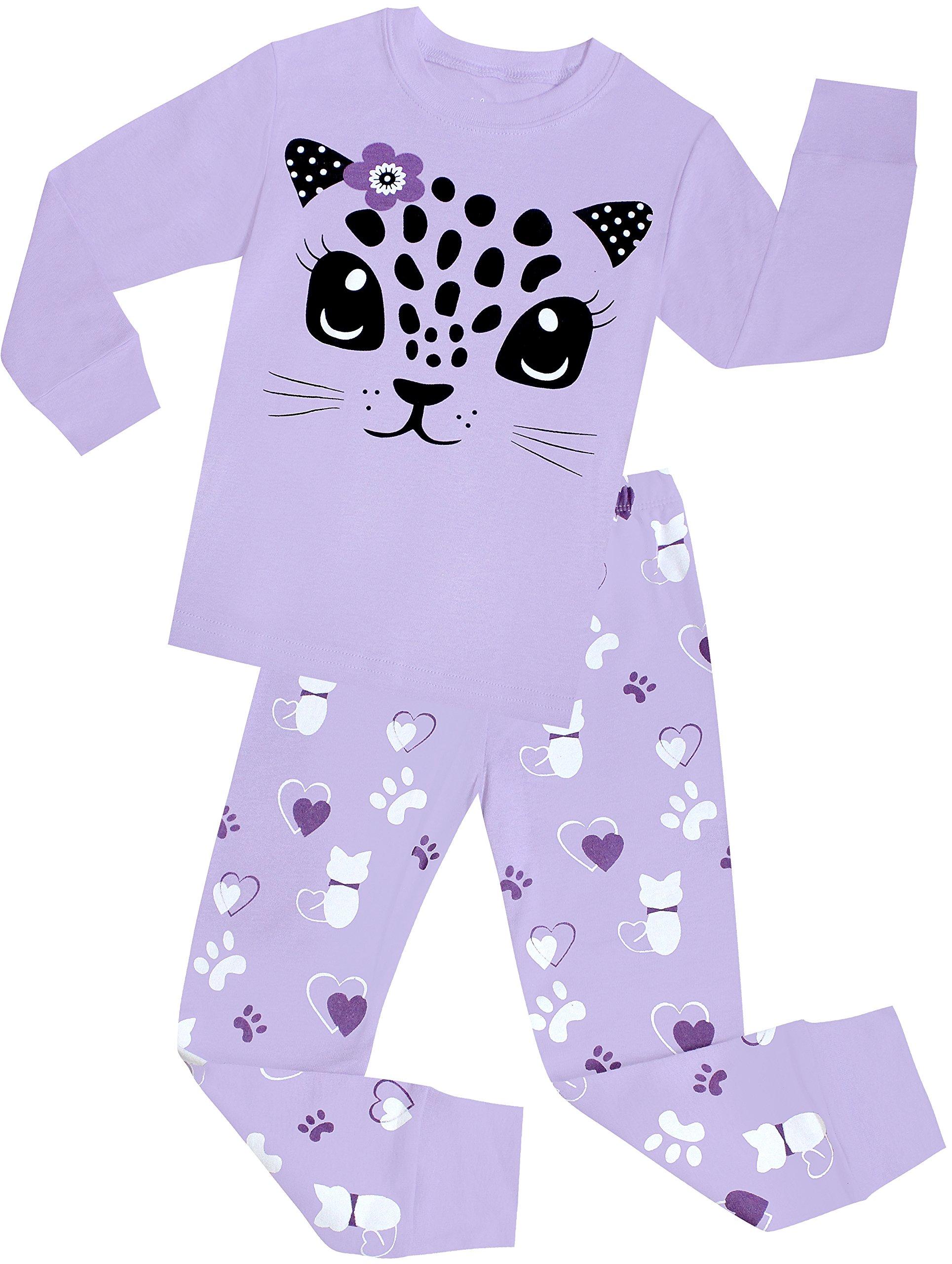 shelry Little Girls Cat Pajamas Set Children Cotton Clothes ...