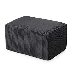 Subrtex Stretch Storage Ottoman Slipcover Protector Spandex Elastic Rectangle Footstool Sofa Slip Cover for Foot Rest Stool Furniture in Living Room (Oversize, Gray)