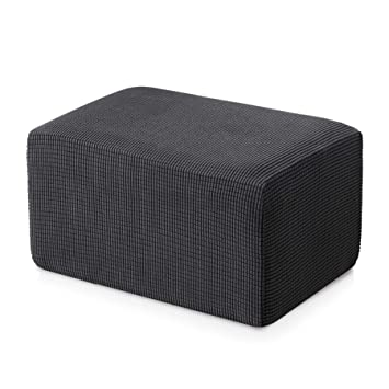 subrtex Stretch Storage Ottoman Slipcover Protector Spandex Elastic Rectangle Footstool Sofa Slip Cover for Foot Rest Stool Furniture in Living Room ...