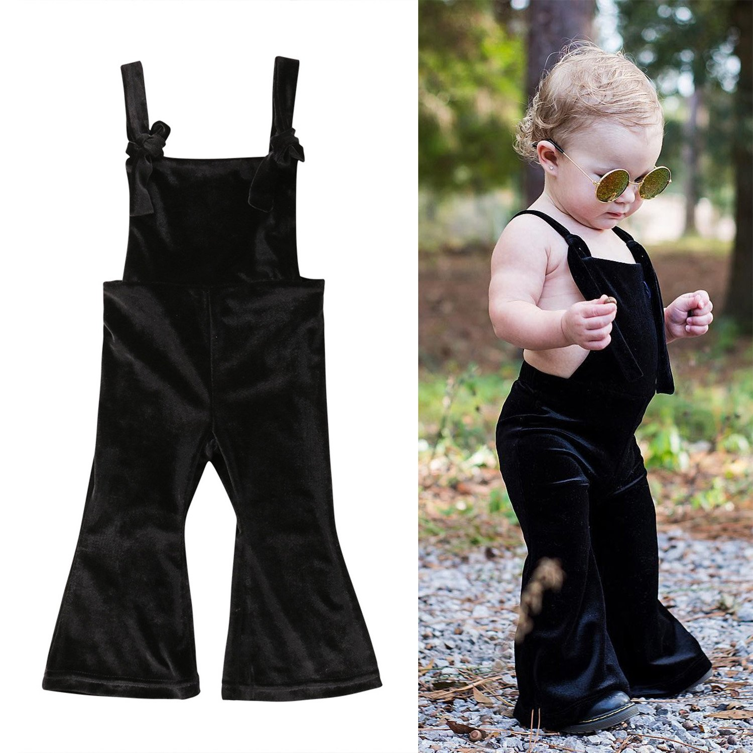 Toddler Baby Girls Straps Velvet Bell-Bottom Backless Jumpsuit Rompers One Piece Overalls Flare Pants Outfits WIFORNT