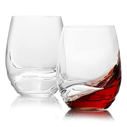 cd943b73985 Stemless Crystal Wine Glasses Set of 2 / Large, Aerating, Dailyware All- purpose