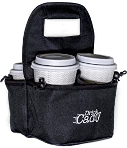 Drink Caddy Portable Drink Carrier and Reusable Coffee Cup Holder - 4 Cup Collapsible Tote Bag with Organizer Pockets Safely Secures Hot and Cold Beverages - Perfect for Food Delivery and Take Out
