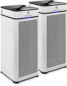 Medify MA-40 2.0 Medical Grade Filtration H13 True HEPA for 840 Sq. Ft. Air Purifier, 99.97% | Modern Design - White (2-Pack)