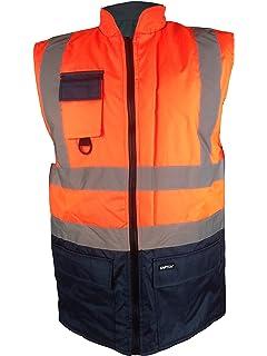 Hi Visibility Reversible 2 Tone Fleece Lined Waterproof Bodywarmer High Viz Vis