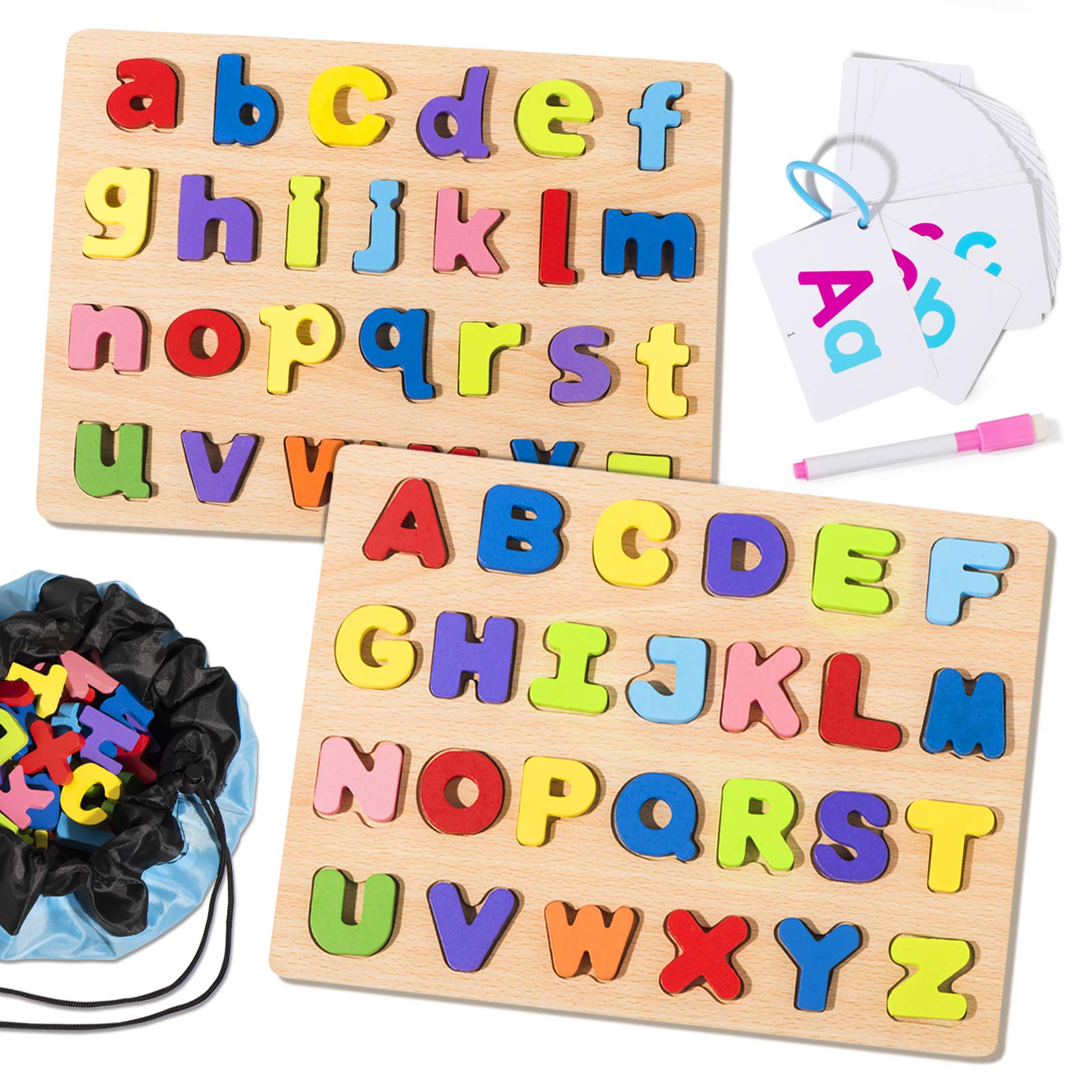 Joyjoz Alphabet Puzzle Board Wooden Puzzles for Toddlers 1-6 5 Set ABC