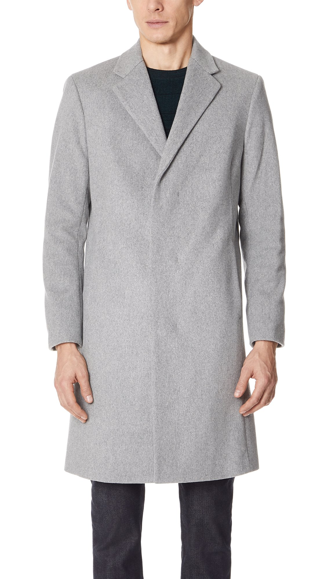 Theory Men's Bower Topcoat, Light Grey Heather, Medium