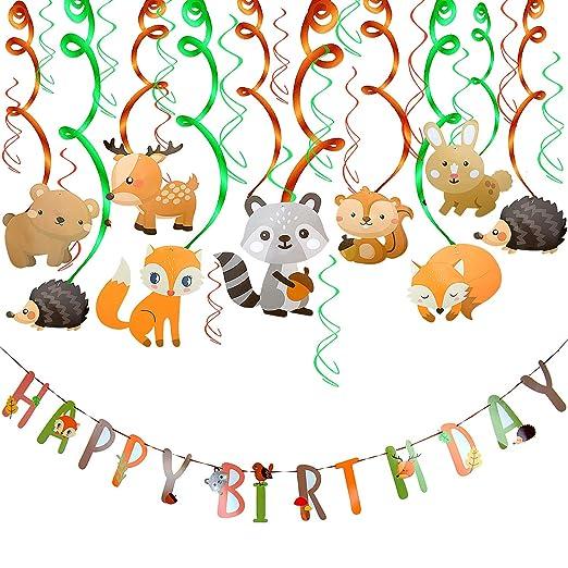 Comius 30 Piezas Salvaje Selva Animal Colgar Decoraciones, Feliz Cumpleaños Banner y Remolino Adornos de espirales para Niños Cumpleaños Fiesta