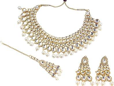 Bollywood Fashion Kundan Stein indische Halskette Ohrringe